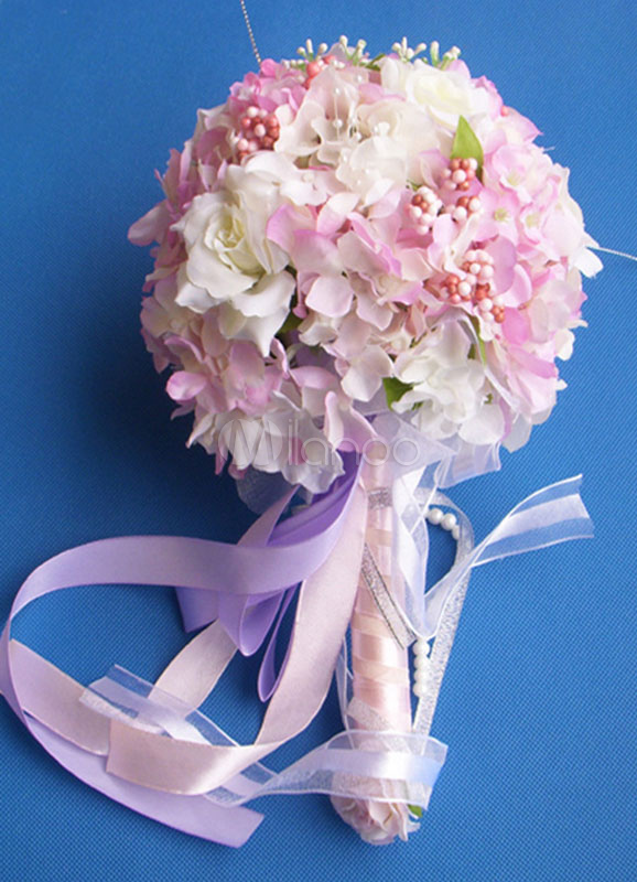 Hydrangea Wedding Bouquet With Ribbon Pearl Milanoo Com