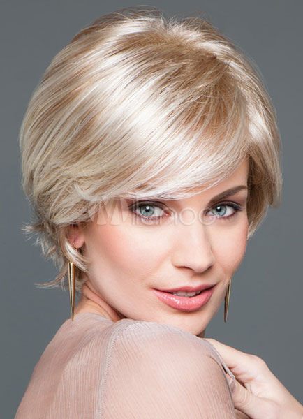 Women's Short Curly Wigs Blonde Full Wigs In Heat-resistant Fiber