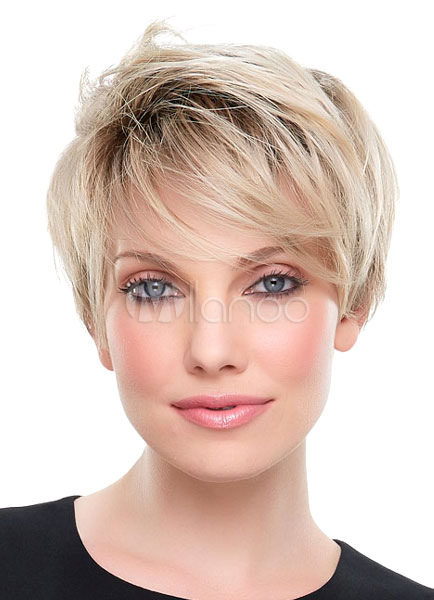 Blonde Short Wigs 2018 Straight Full Synthetic Wigs For Women