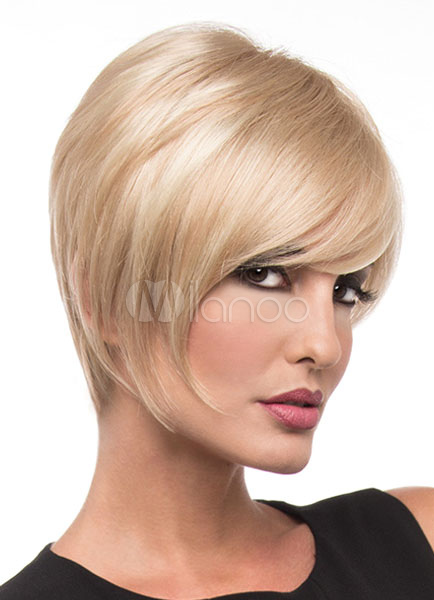 Women's Short Wigs Light Gold Layered Tousled Full Wigs