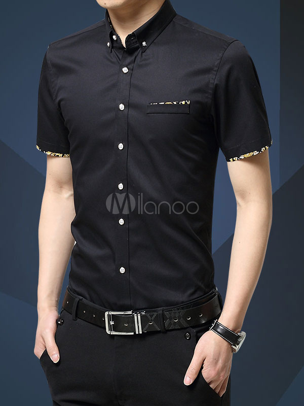 Basic Casual Slim Fit Shirt With Short Sleeves For Men