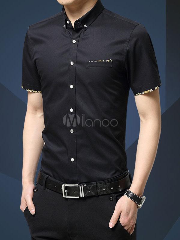 7a558f1dc Hombre Casual Camisa de Algodón 2019 Spread Collar Bolsillo Impreso Slim  Fit Manga Corta Camisa- ...