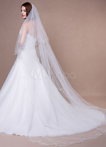 Cathedral Weddding Veil Embroidered Scalloped Edge Waterfall Bridal Veil With Comb(300*200cm)