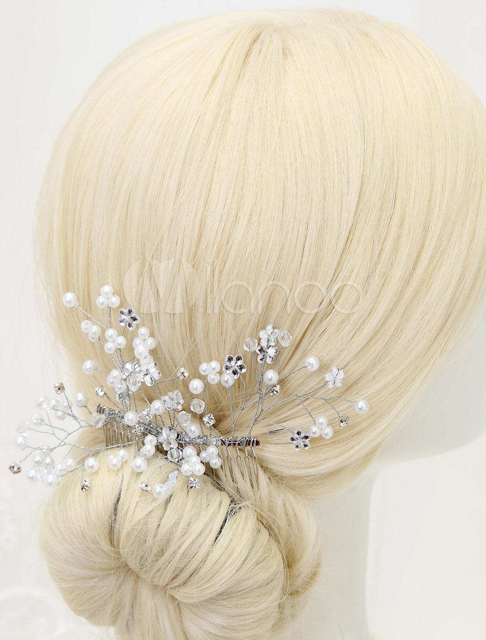 Buy Mental Bridal Comb Pearls Decoration Wedding Headpiece for $10.49 in Milanoo store