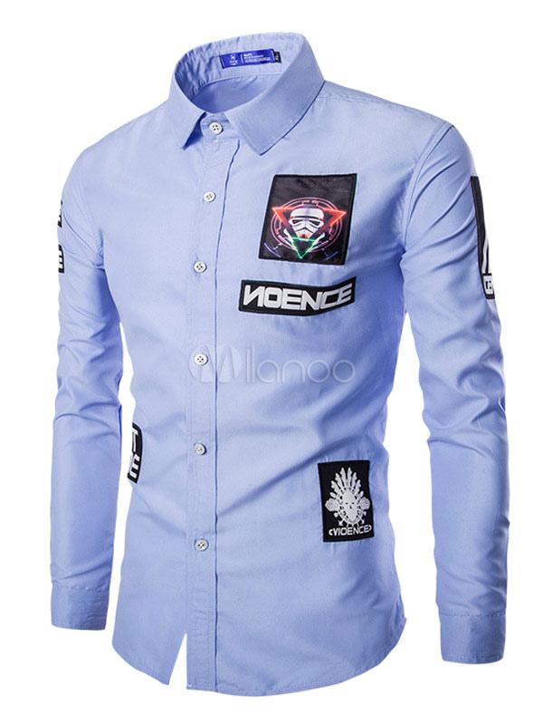 timeless design 97677 627eb Lässige weißes Hemd für Männer mit coolen Patch