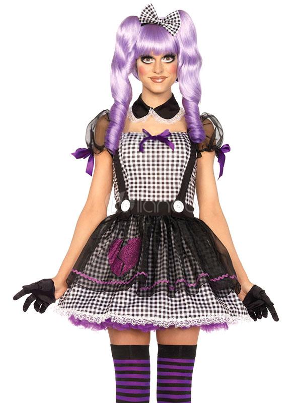 Populares Fantasia de boneca Dollie olho sensual mortos de vestido roxo  XY56