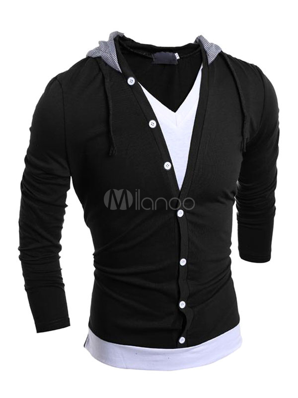 Men's Casual Hoodie Fake Two Pieces Hooded Sweatshirt