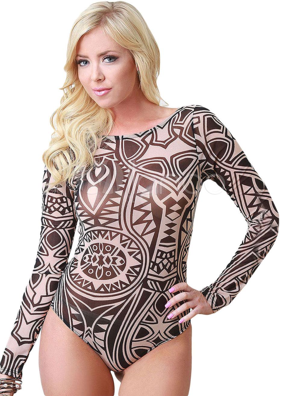 Tribal Print Mesh Bodysuit Cheap clothes, free shipping worldwide