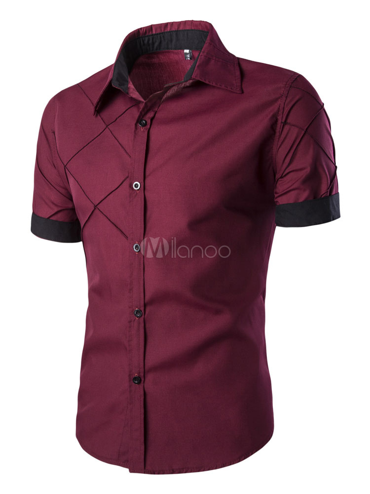 Men's Short Sleeve Shirt With Contrast Cuff And Hem