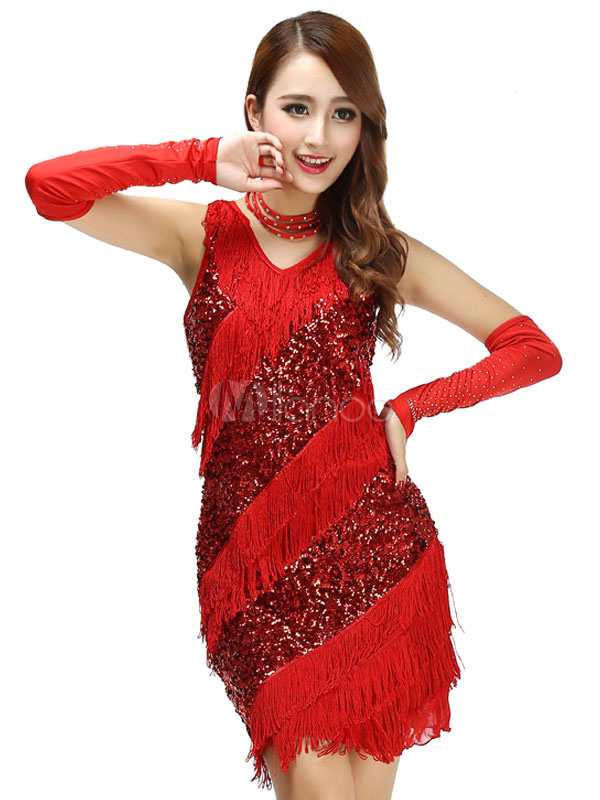 Buy V Neck Adult Strap Polyester Latin Dance Costume Sequined Dance Dress for $38.63 in Milanoo store