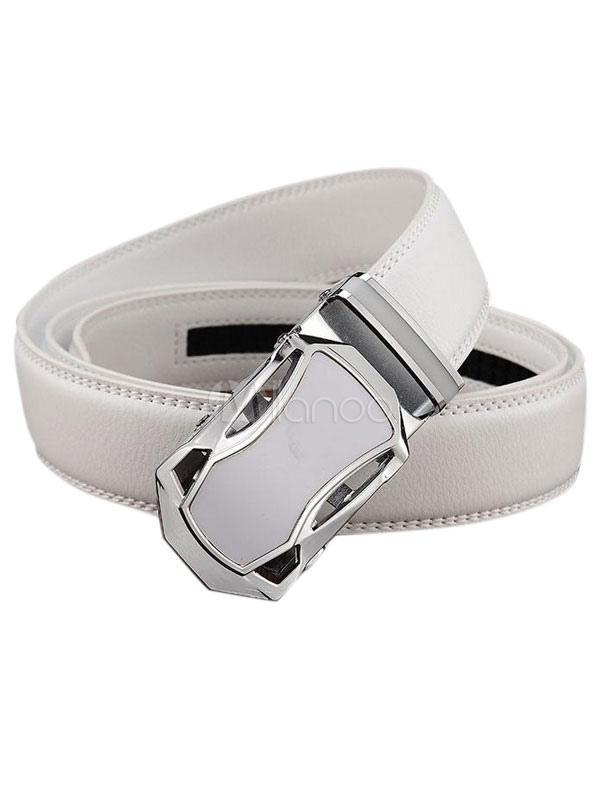 Men's White/Black Business Belt Automatic Buckle Waistband