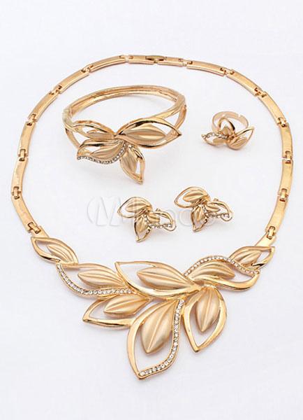 Metallic Leaf-shaped Jewelry Sets