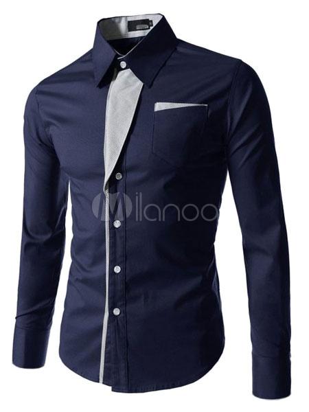 Long Sleeve Shirt Two Tone Design Casual Shirt For Men