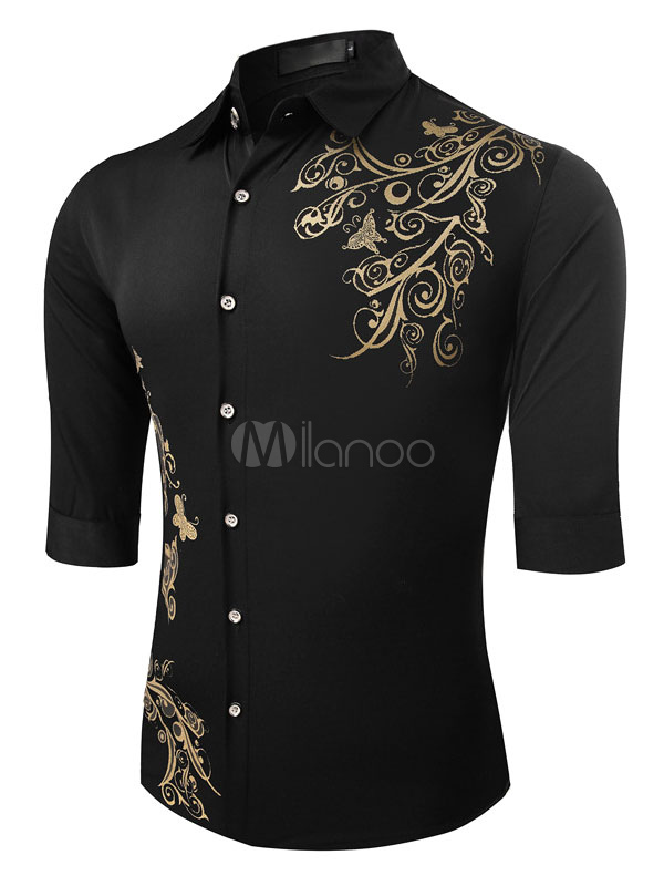 Black/White Half Sleeves Shirt With Floral Print For Men