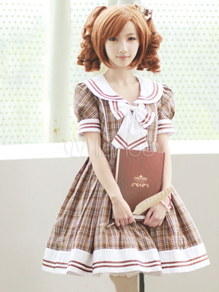 Buy Light Brown/Red Gingham Cotton Lolita One-piece Dress High Waist Short Sleeves College School Style for $90.39 in Milanoo store