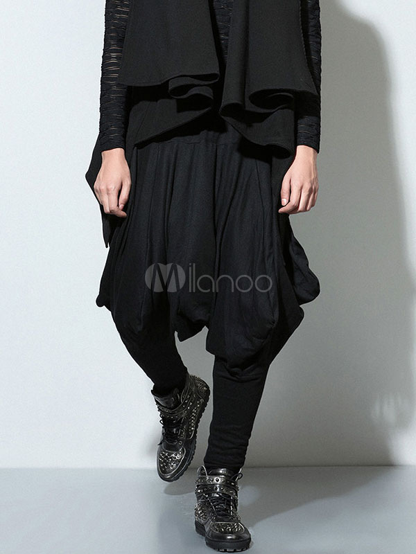 Black Harem Pants Hippie Dance Drop Crotch For Men