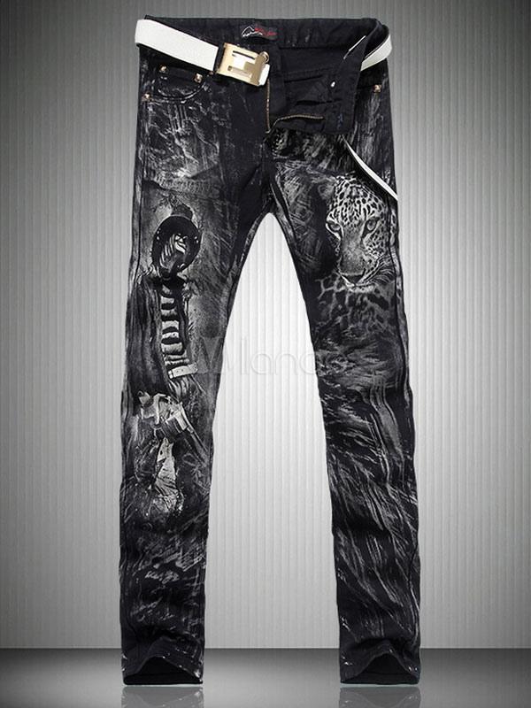 Buy Men's Black Skinny Jeans Punk Rocker Style Denim Pants for $60.99 in Milanoo store