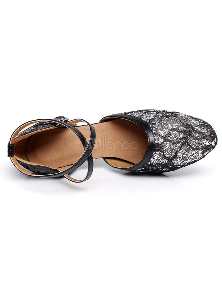 Salón de baile zapatos lentejuelas ensanchados zapatos de baile de tacón yWnpOL