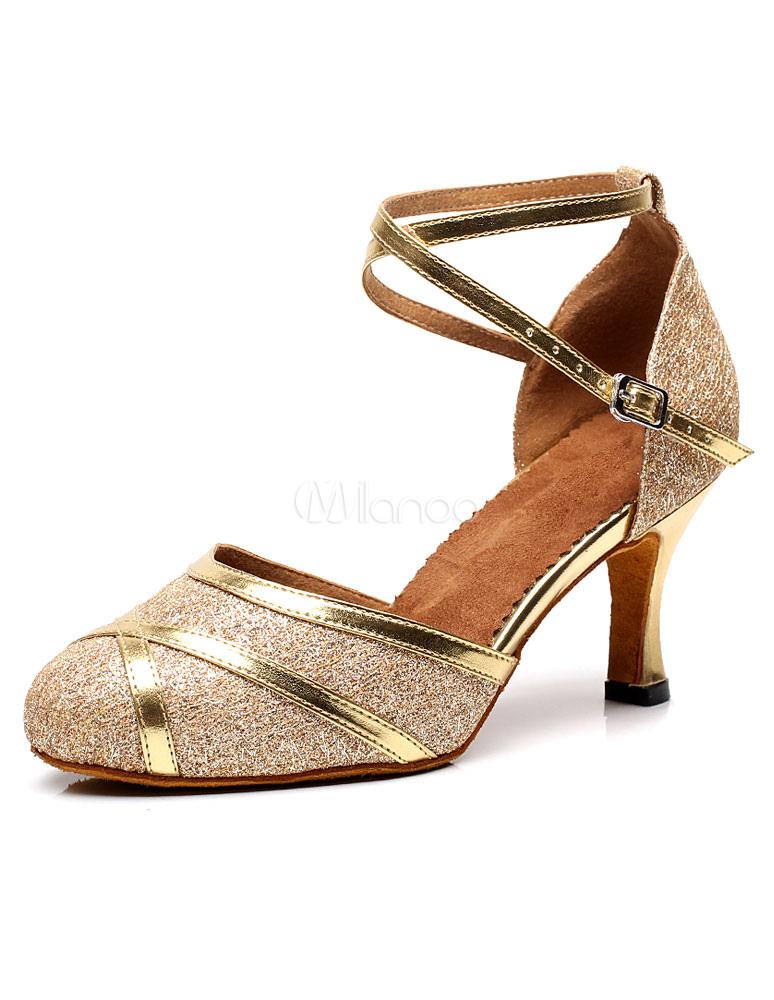 Zapatos baile latino zapatos de dedo del pie redondo lentejuelas Idn2s