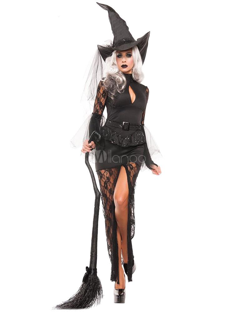 Bien connu Halloween sorcière noire robe Sexy dentelle manches Vampire  YB09