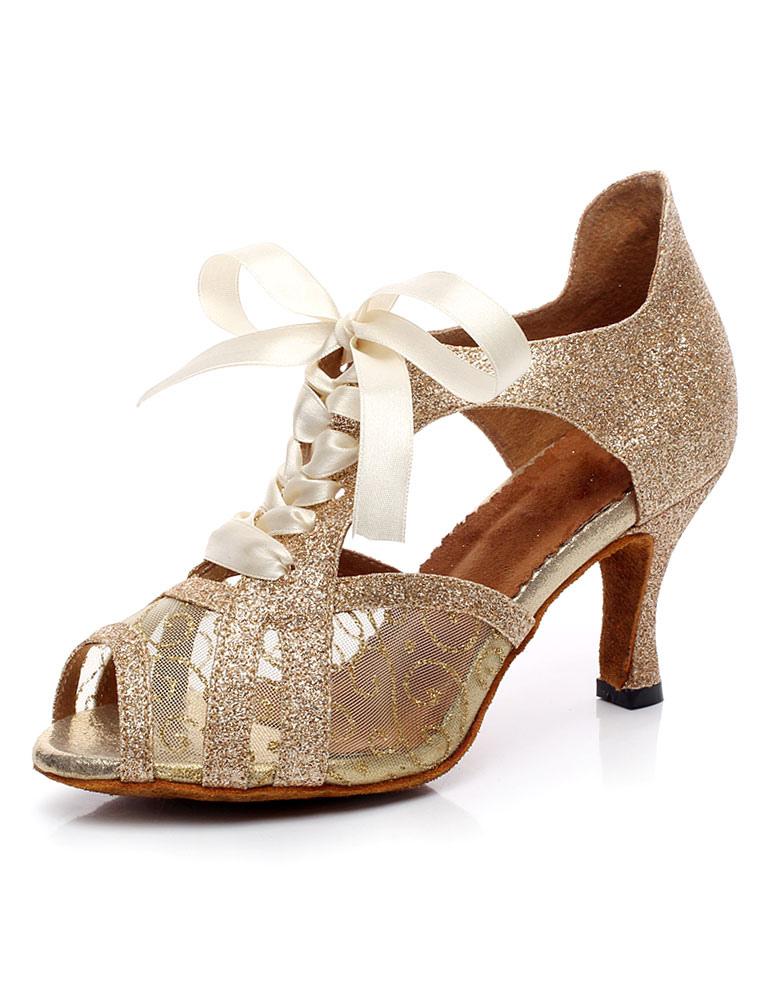 Salón de baile zapatos encaje lentejuelas Peep zapatos de baile HdA8XZB