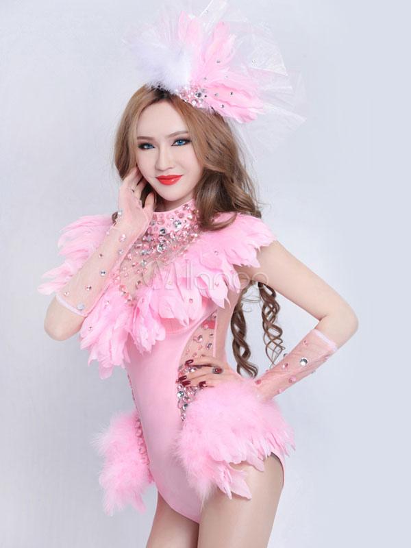 Traje de Danza Jazz clarividente sexy vestido rosado plumaje Night ...