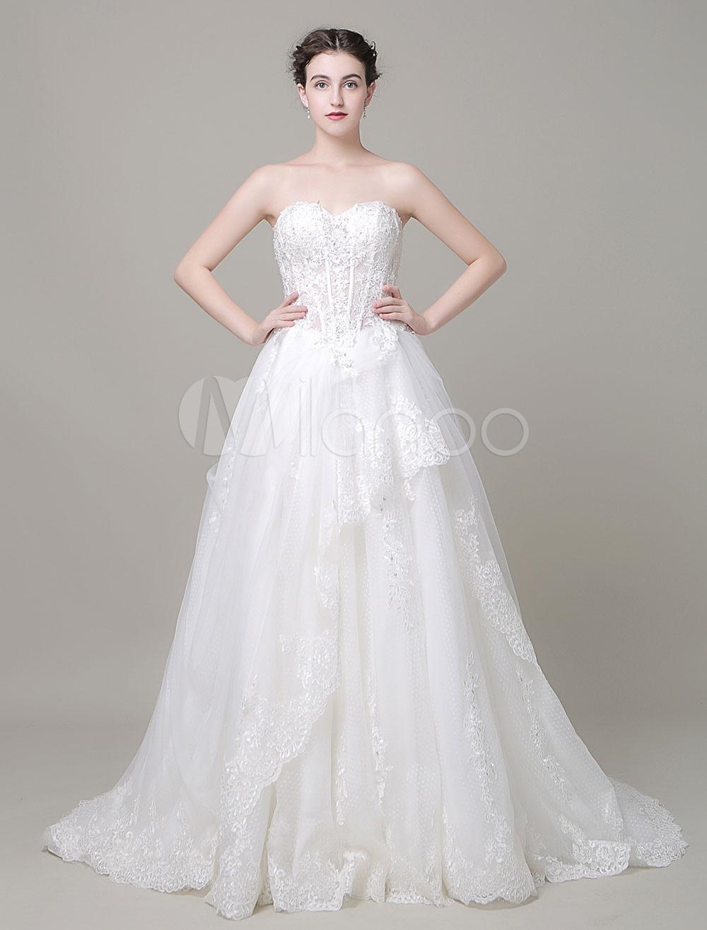 Sweetheart Wedding Dress A-Line Beading Lace Applique Court Train Bridal Dress