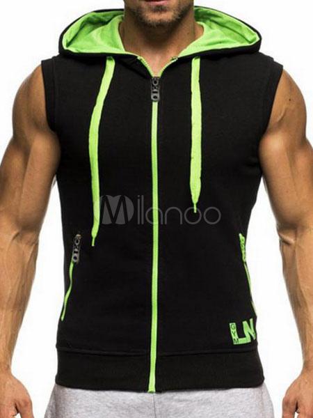 Black Sleeveless Hoodie 2018 Drawstring Zipper Sweatshirt Color Block Hoodie For Men