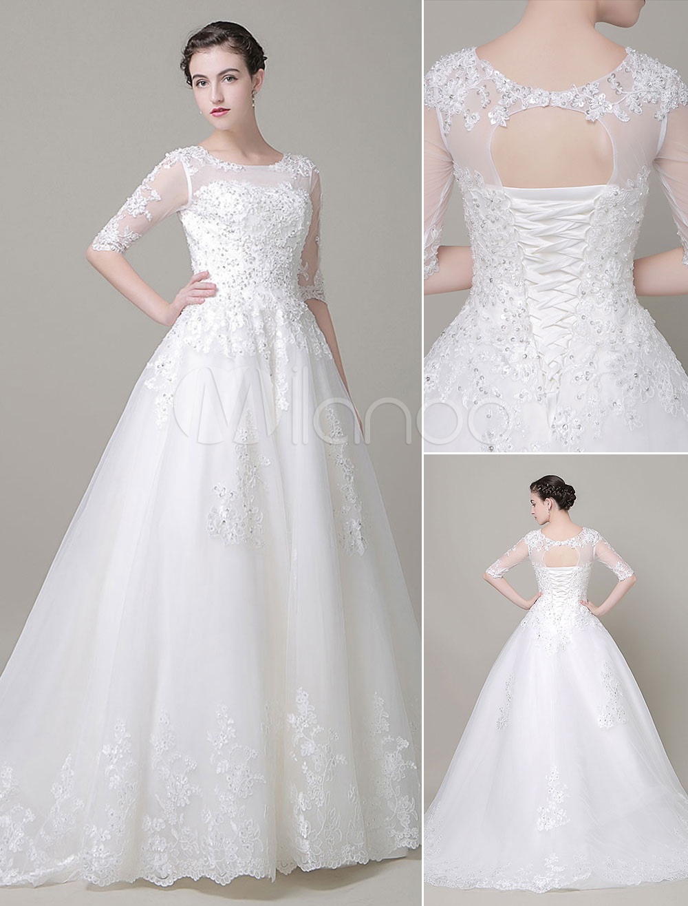 Milanoo / A-Line Wedding Dress Illusion Jewel Neckline Lace Beading Court Train Bridal Dress