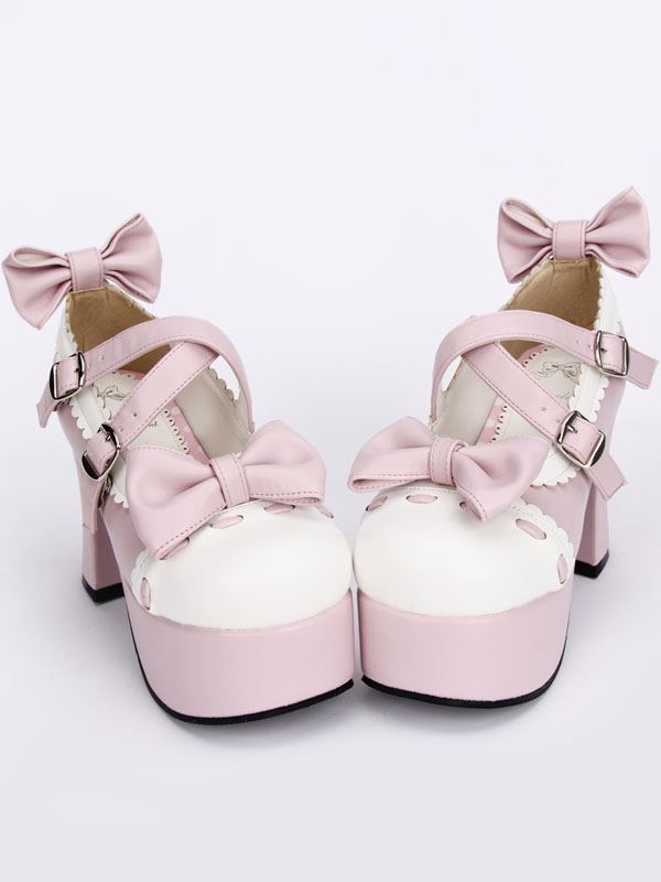 Buy Pink Lolita Pony Heels Shoes Platform White Trim Bows Straps Buckles for $57.59 in Milanoo store