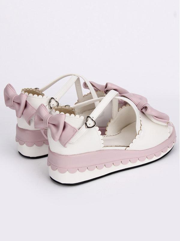 Tienda de descuento 2018 Barato Online Dulce Lolita blanco sandalias plataforma rosa arcos tobillo correas arcos GRGQP91I