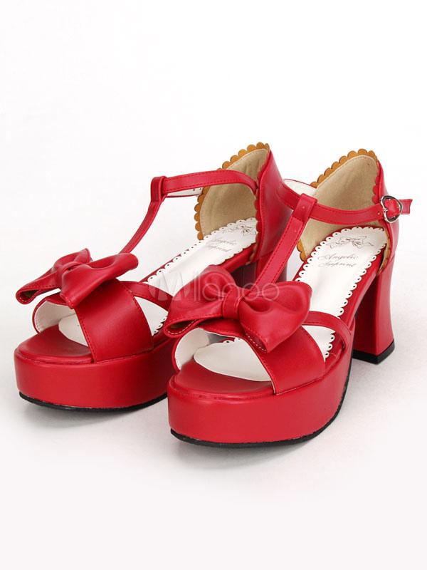 Rojo Lolita Pony gruesos tacones zapatos plataforma tobillo correa arco Fz0i1ms