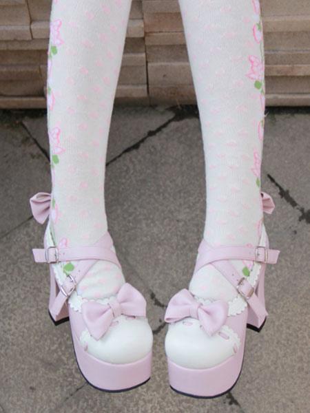Lolita Pink Pony tacones zapatos plataforma blanca arcos ajuste correas hebillas 4LvQEwjCh