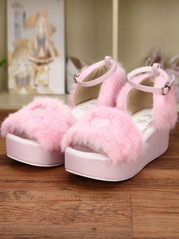 Dulce Lolita rosa sandalias plataforma corazón esponjoso forma correa de tobillo Estilo de moda de venta barata Outlet 2018 Unisex DSsKzK6I