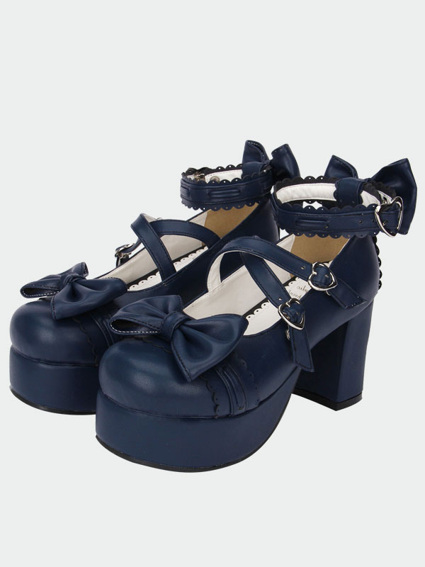 7b5891bba54 ... Navy Blue Lolita Chunky Pony Heels Shoes Platform Ankle Straps Bows  Heart Shape Buckles-No ...