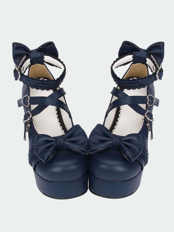 Navy Blue Lolita Chunky Pony Heels Shoes Platform Ankle Straps Bows Heart Shape Buckles