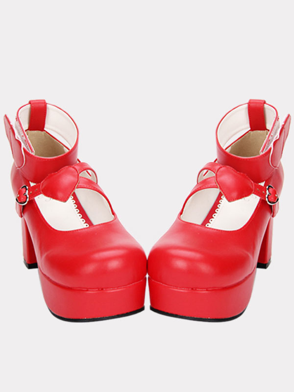 Buy Red Lolita Chunky Pony Heels Shoes Platform Ankle Strap Heart Shape Decor Buckle Round Toe for $56.99 in Milanoo store