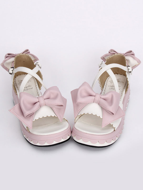 Buy Sweet White Lolita Sandals Platform Pink Bows Ankle Straps Bows for $55.79 in Milanoo store