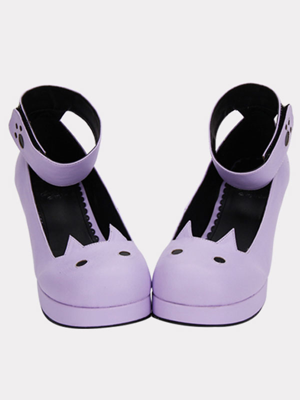 Matte Purple Lolita Chunky Heels Shoes Tea Party Shoes Ankle Strap Round Toe