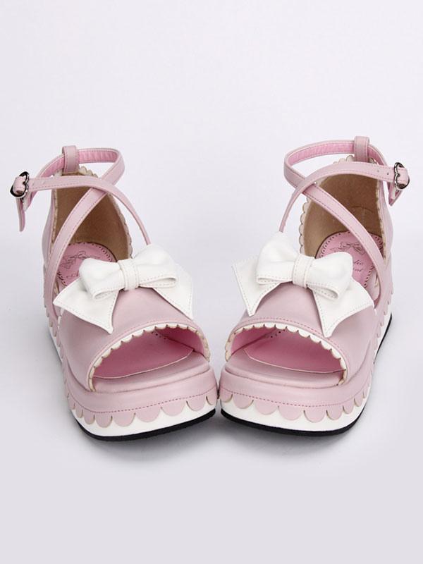 Milanoo / Pink Lolita Platform Sandals White Bows Ankle Straps Heart Shape Buckle