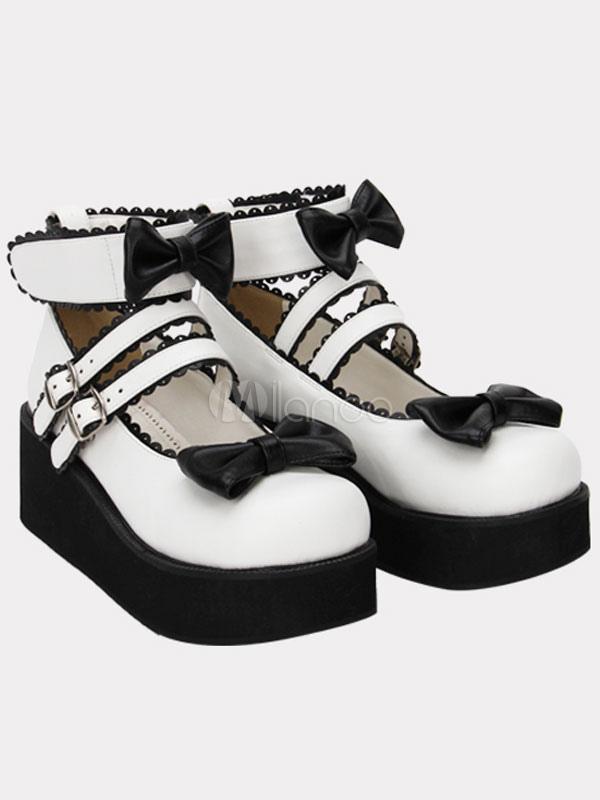 Zapatos de plataforma Lolita blanca arcos único negro hebillas de correa de tobillo kl6YmS
