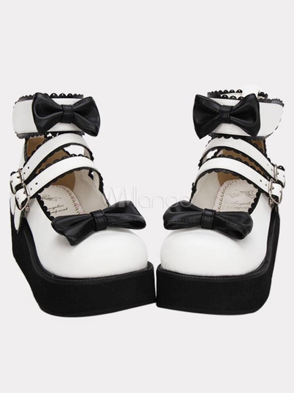 White Lolita Platform Shoes Black Sole Bows Ankle Strap Buckles
