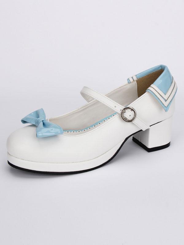 Zapatos de tacón Chunky Lolita blanco azul lazos alrededor del tobillo correa de hebilla TmmDTGa