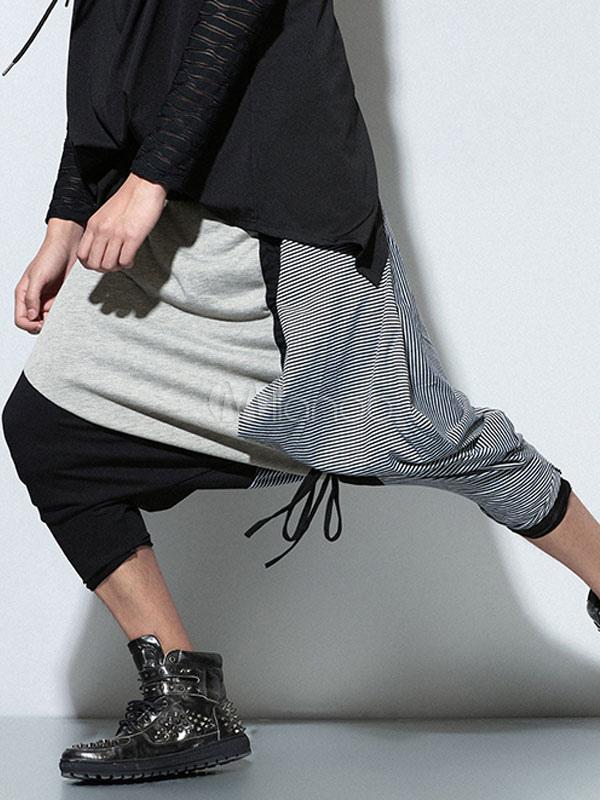 ... Pantalones largos de algodón con dibujo retazados nudos estilo Hip Hop  -No.3 ... 703c834a110