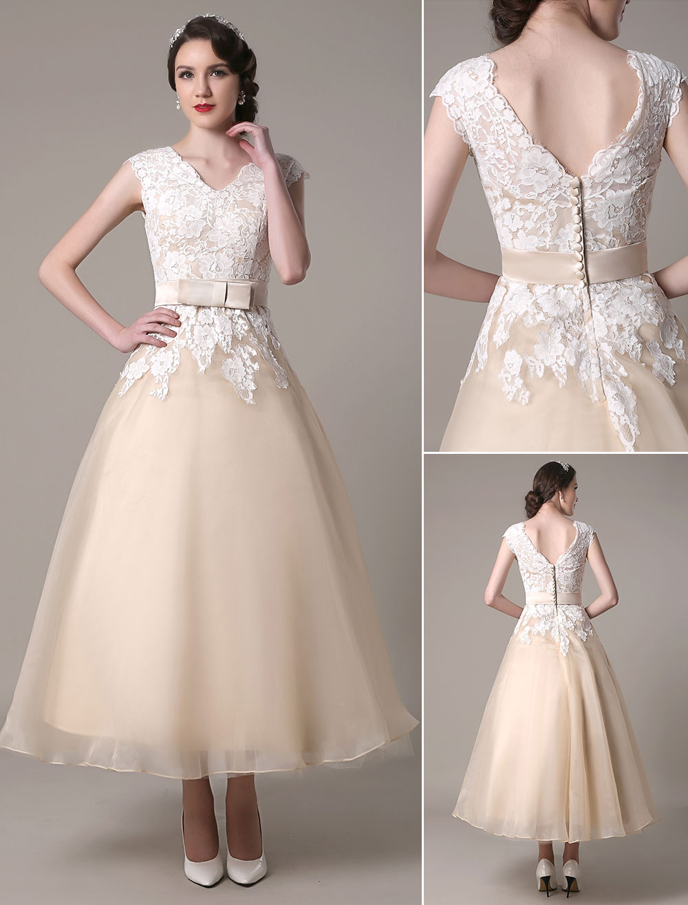 Champagne Wedding Dress A Line V Neck Lace Applique Organza Tea ...