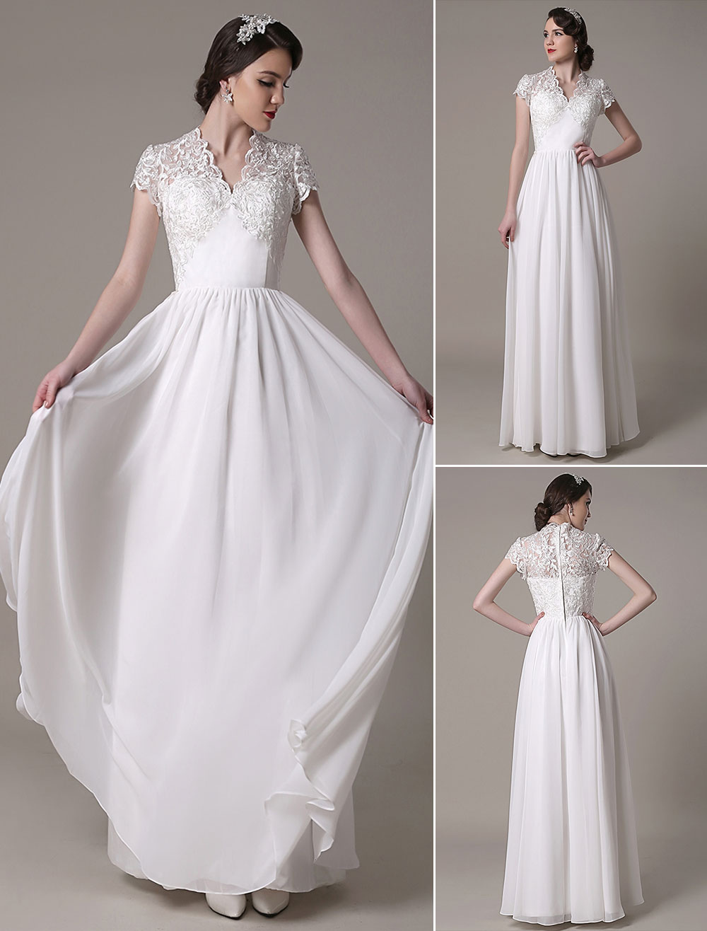 Sheath Wedding Dress V-Neck Lace Chiffon Pleated Floor Length Bridal Dress Milanoo