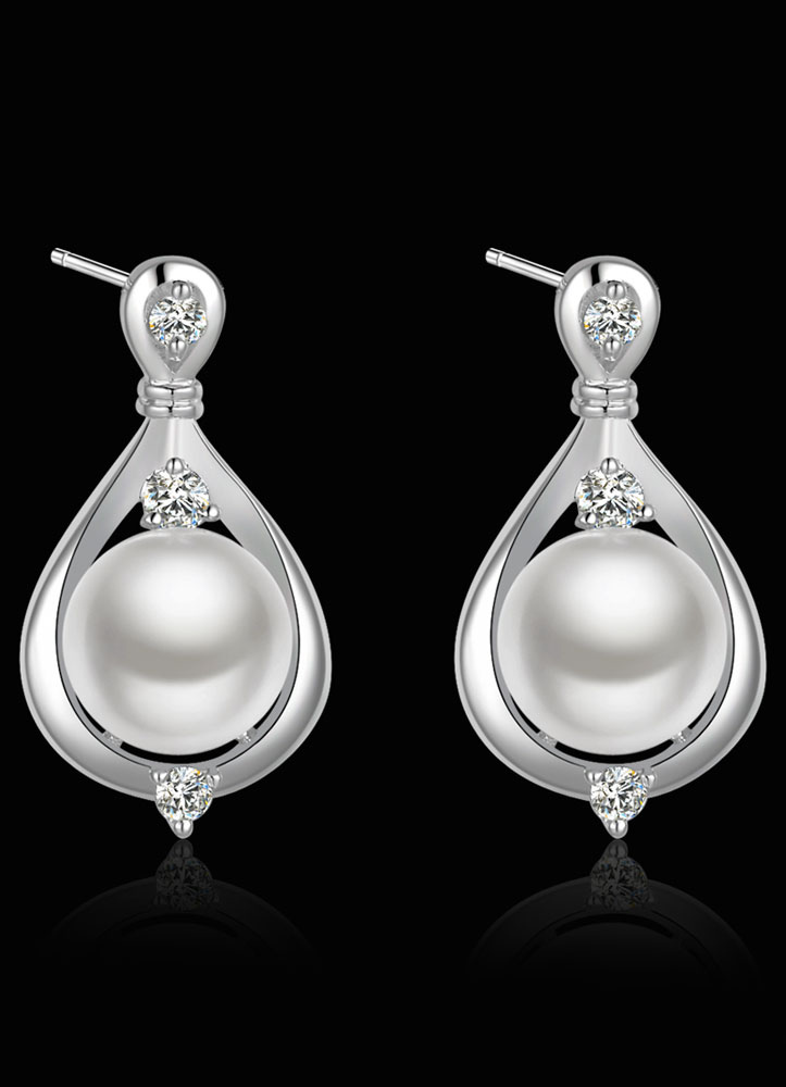 Buy Silver Wedding Earrings Rhinestones Pearls Bridal Earrings for $8.99 in Milanoo store