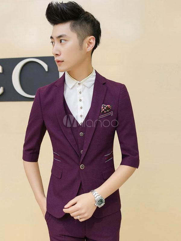 Half Sleeves Summer Blazer For Men In Black/Purple - Milanoo.com