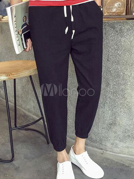 Casual Cropped Pants Trousers For Men In Loose Fit