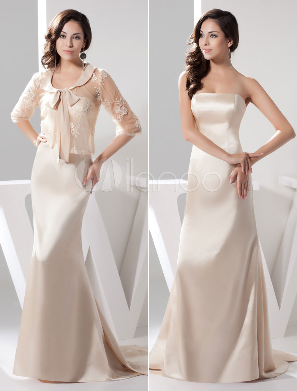 Buy Mermaid Mother Of The Bride Dress Suits Satin Beading Chaple Train Wedding Party Dress With Lace Jacket Milanoo for $136.79 in Milanoo store